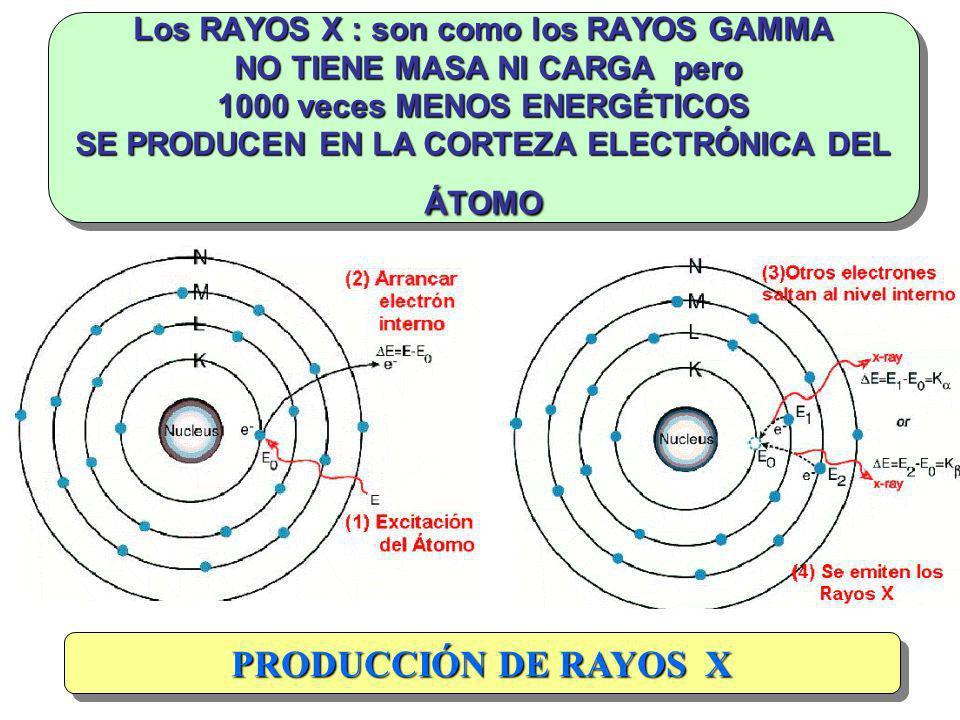Los RAYOS X : son como los RAYOS GAMMA NO TIENE MASA NI CARGA pero 1000 veces MENOS ENERGÉTICOS SE PRODUCEN EN LA CORTEZA ELECTRÓNICA DEL ÁTOMO