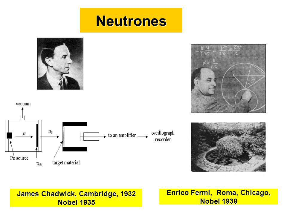Neutrones James Chadwick, Cambridge, 1932 Nobel 1935