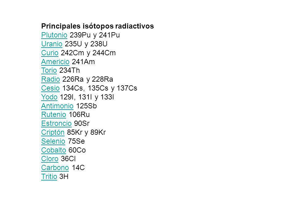 Principales isótopos radiactivos