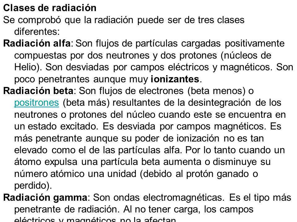 Clases de radiación Se comprobó que la radiación puede ser de tres clases diferentes: