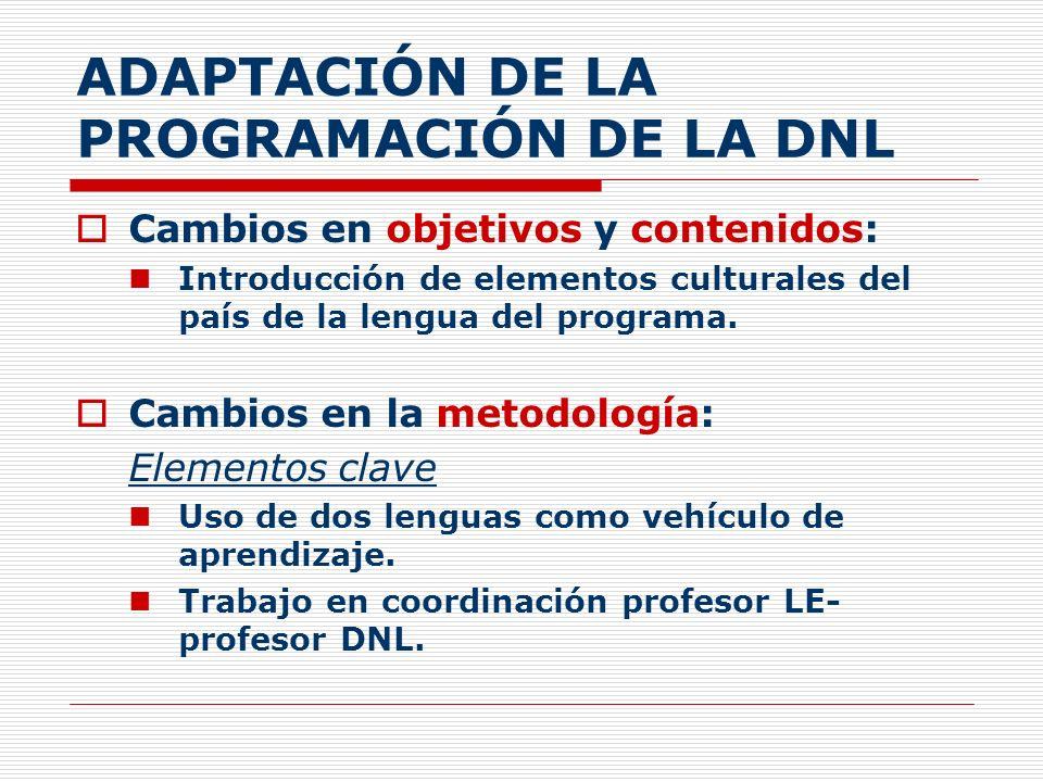 ADAPTACIÓN DE LA PROGRAMACIÓN DE LA DNL