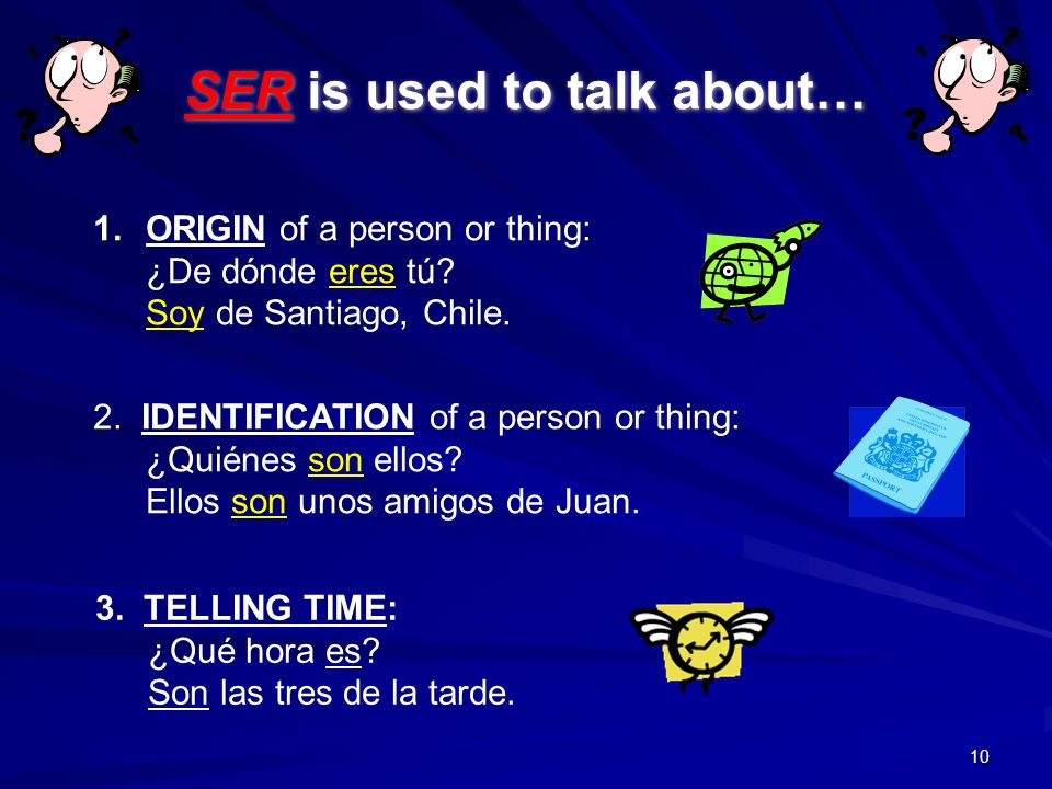 SER is used to talk about…