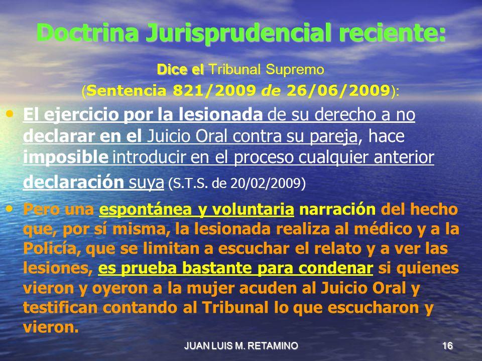 Doctrina Jurisprudencial reciente: