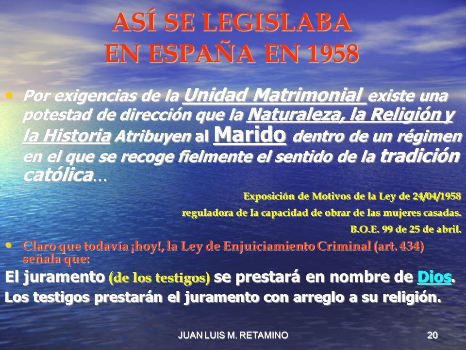 ASÍ SE LEGISLABA EN ESPAÑA EN 1958