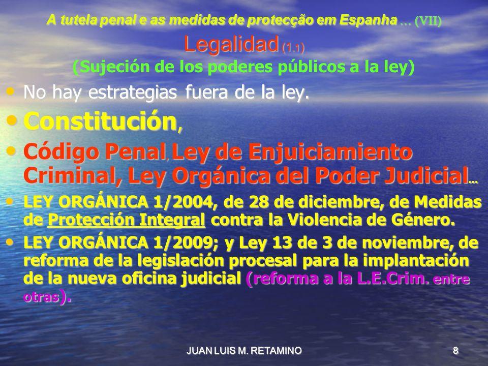 A tutela penal e as medidas de protecção em Espanha … (VII) Legalidad (1.1) (Sujeción de los poderes públicos a la ley)