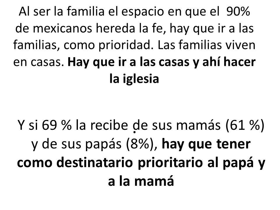 Al ser la familia el espacio en que el 90% de mexicanos hereda la fe, hay que ir a las familias, como prioridad. Las familias viven en casas. Hay que ir a las casas y ahí hacer la iglesia .