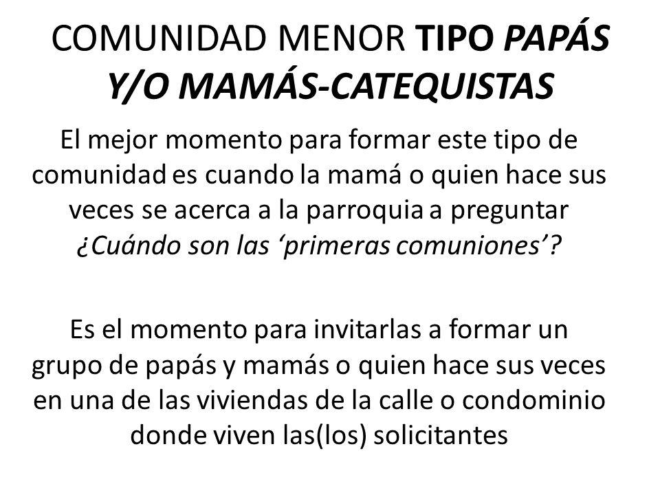 COMUNIDAD MENOR TIPO PAPÁS Y/O MAMÁS-CATEQUISTAS