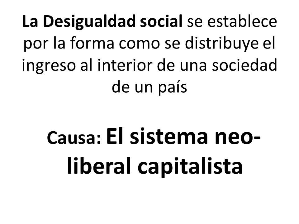 Causa: El sistema neo-liberal capitalista
