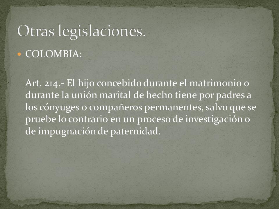 Otras legislaciones. COLOMBIA: