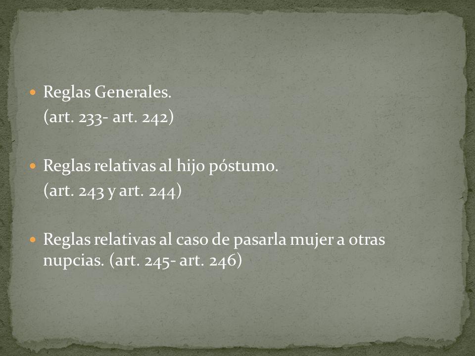 Reglas Generales. (art. 233- art. 242) Reglas relativas al hijo póstumo. (art. 243 y art. 244)