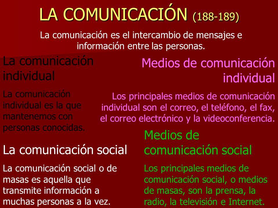 LA COMUNICACIÓN (188-189) La comunicación individual