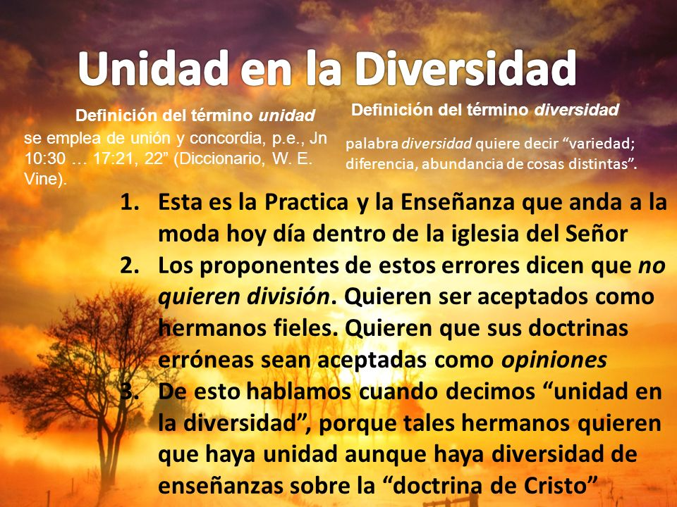 Unidad en la Diversidad Definición del término unidad
