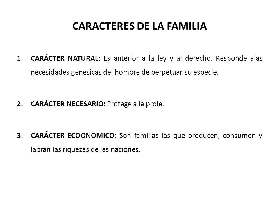 CARACTERES DE LA FAMILIA