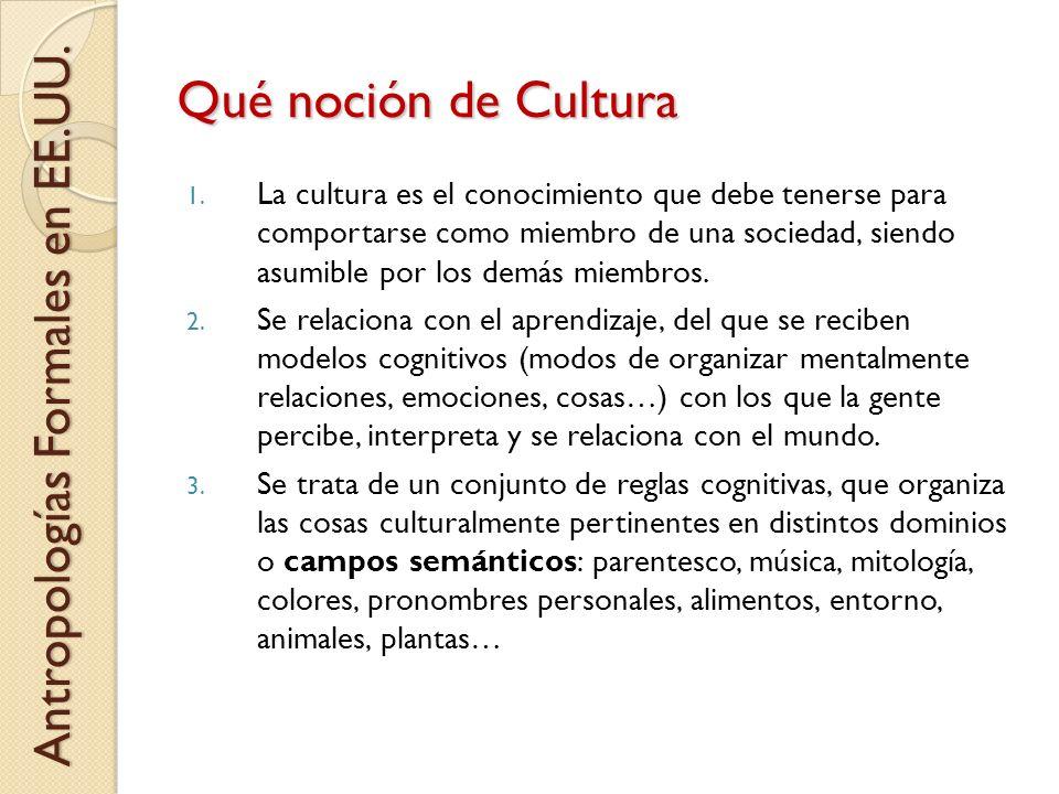 Qué noción de Cultura Antropologías Formales en EE.UU.