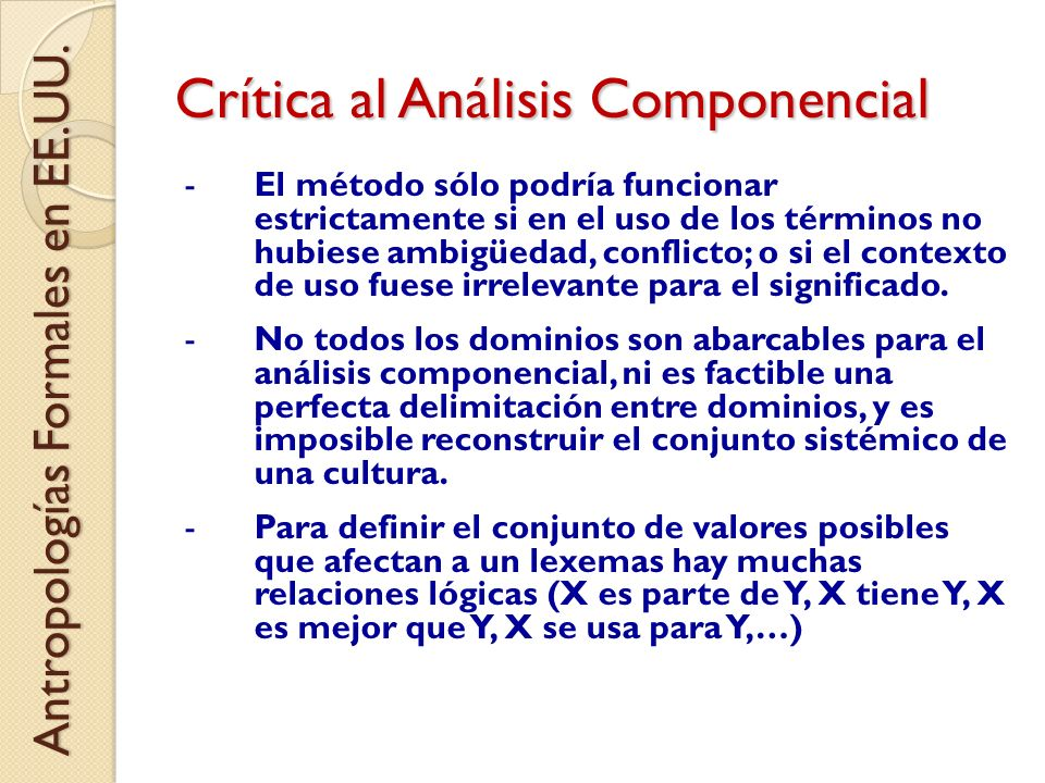 Crítica al Análisis Componencial