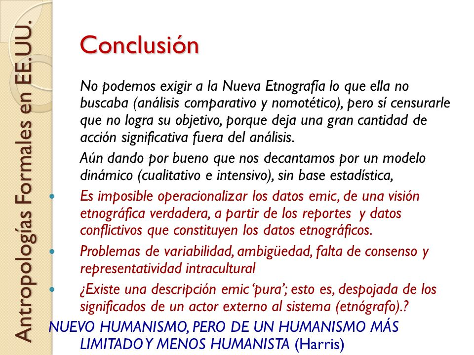 Conclusión Antropologías Formales en EE.UU.