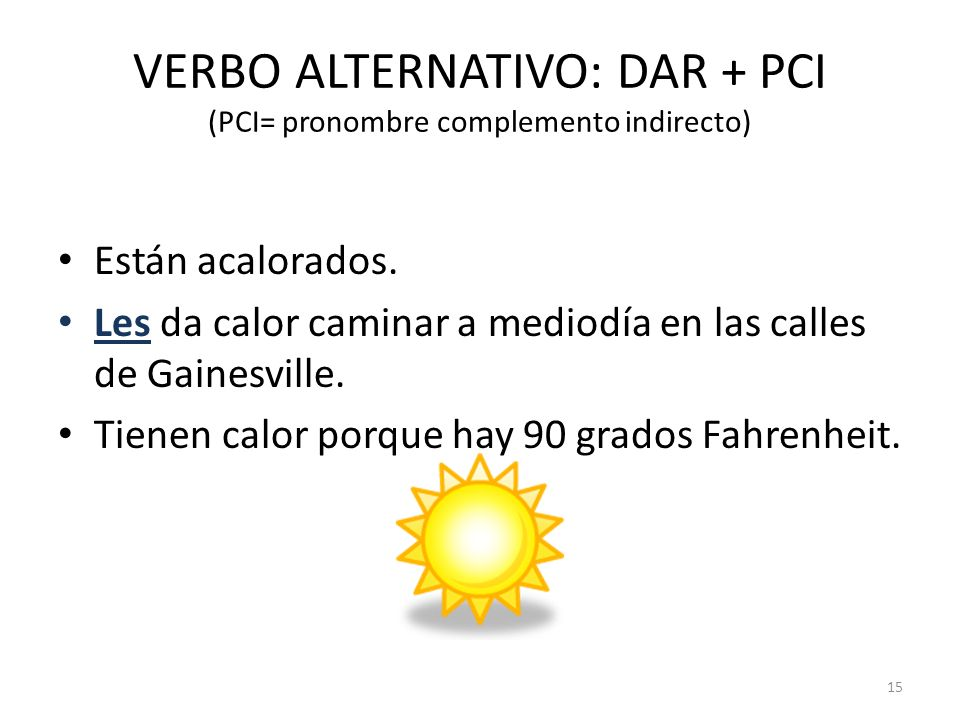 VERBO ALTERNATIVO: DAR + PCI (PCI= pronombre complemento indirecto)