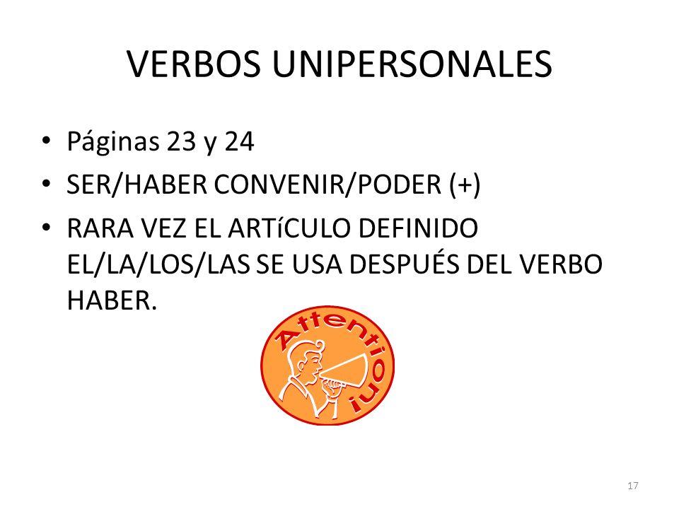VERBOS UNIPERSONALES Páginas 23 y 24 SER/HABER CONVENIR/PODER (+)