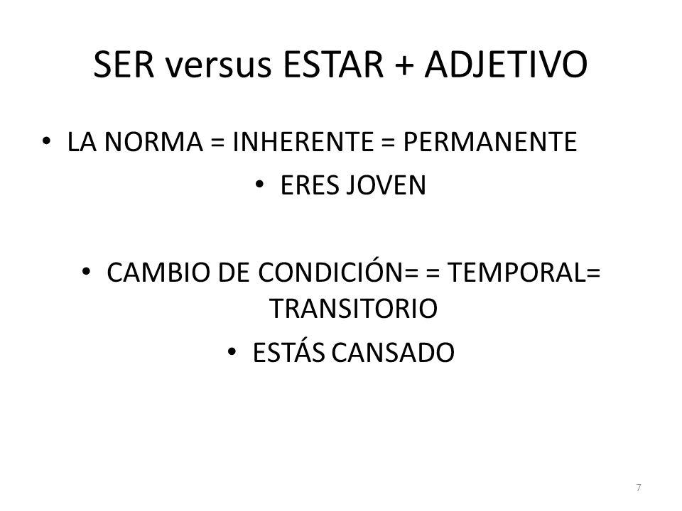 SER versus ESTAR + ADJETIVO