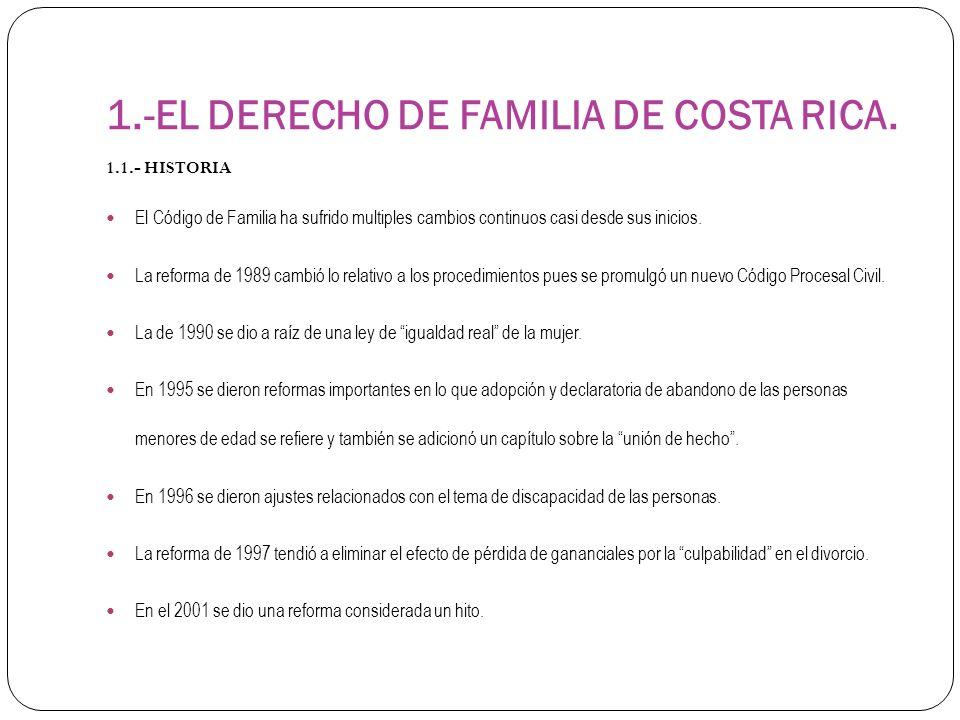 1.-EL DERECHO DE FAMILIA DE COSTA RICA.