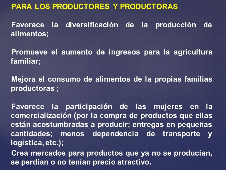 PARA LOS PRODUCTORES Y PRODUCTORAS