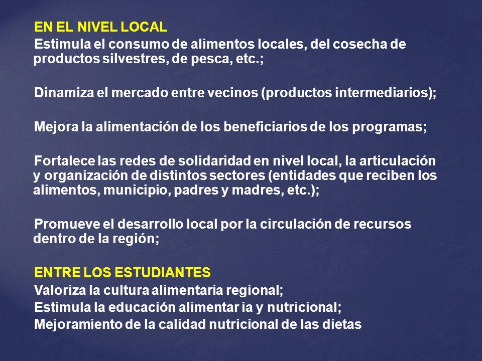 EN EL NIVEL LOCALEstimula el consumo de alimentos locales, del cosecha de productos silvestres, de pesca, etc.;