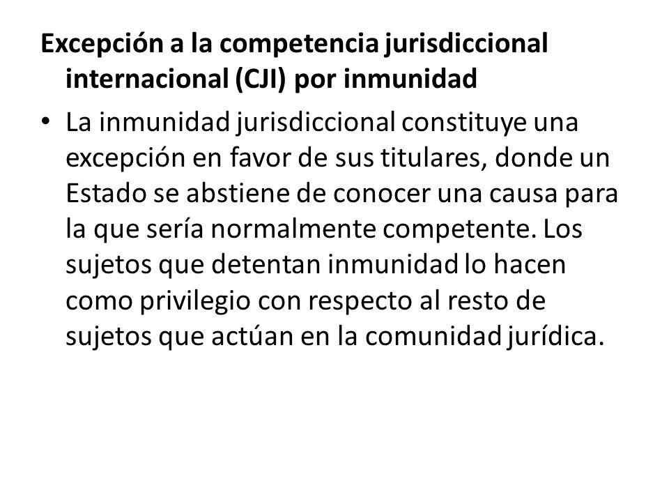 Excepción a la competencia jurisdiccional internacional (CJI) por inmunidad