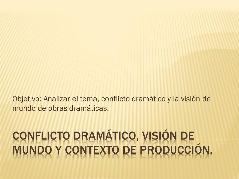 Conflicto dramático, Visión de mundo y contexto de producción.