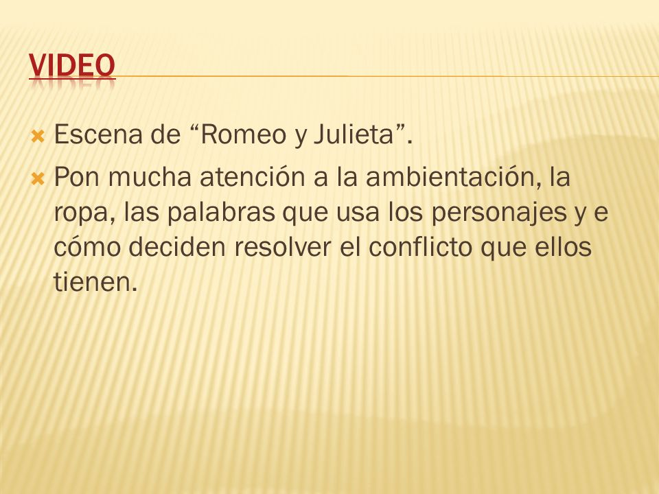 VIDEO Escena de Romeo y Julieta .