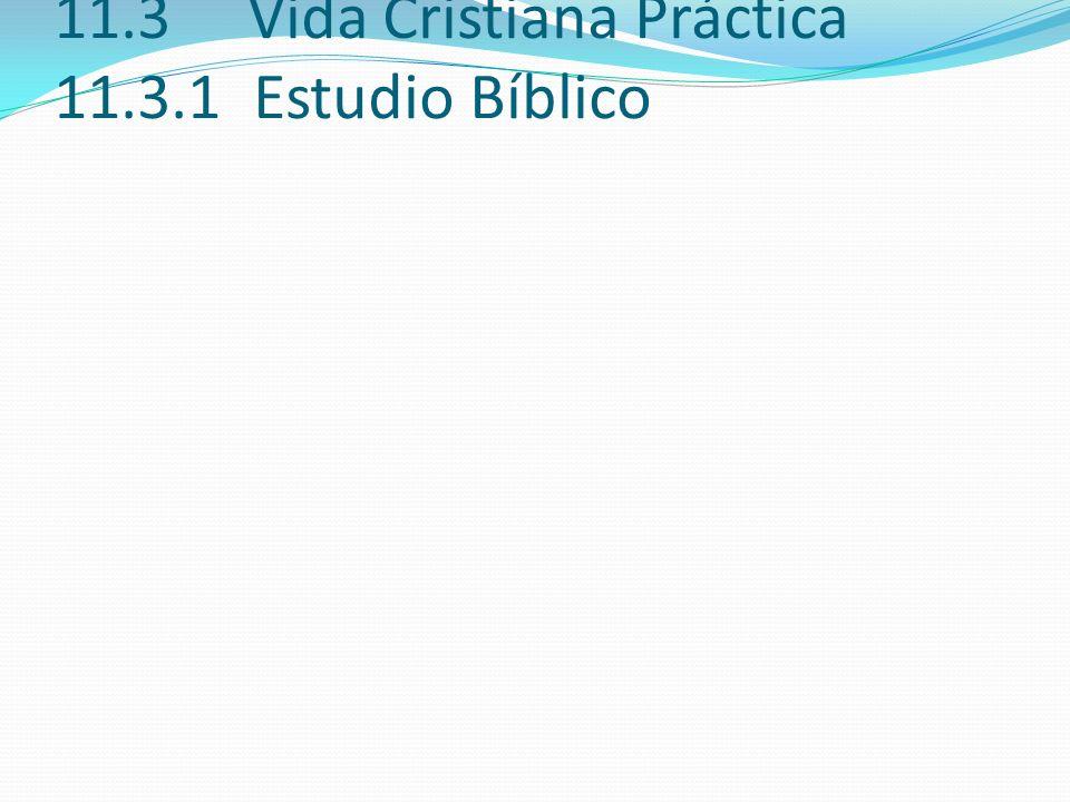 11.3 Vida Cristiana Práctica 11.3.1 Estudio Bíblico