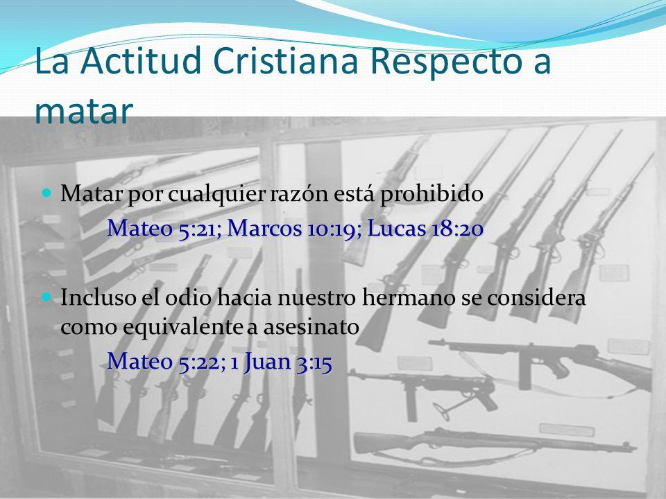 La Actitud Cristiana Respecto a matar