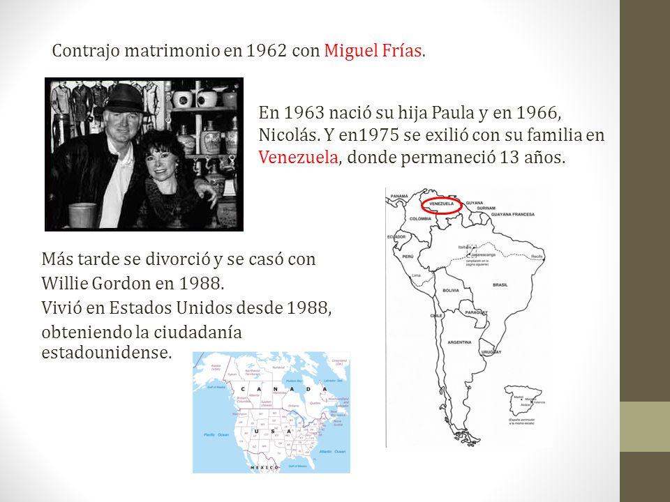 Contrajo matrimonio en 1962 con Miguel Frías.