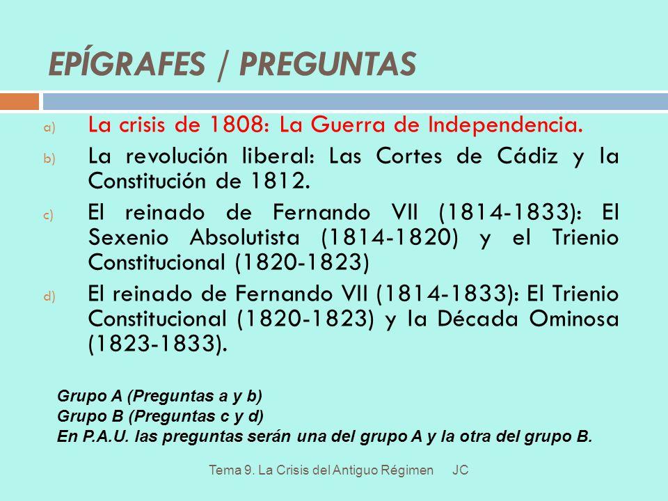 EPÍGRAFES / PREGUNTAS La crisis de 1808: La Guerra de Independencia.