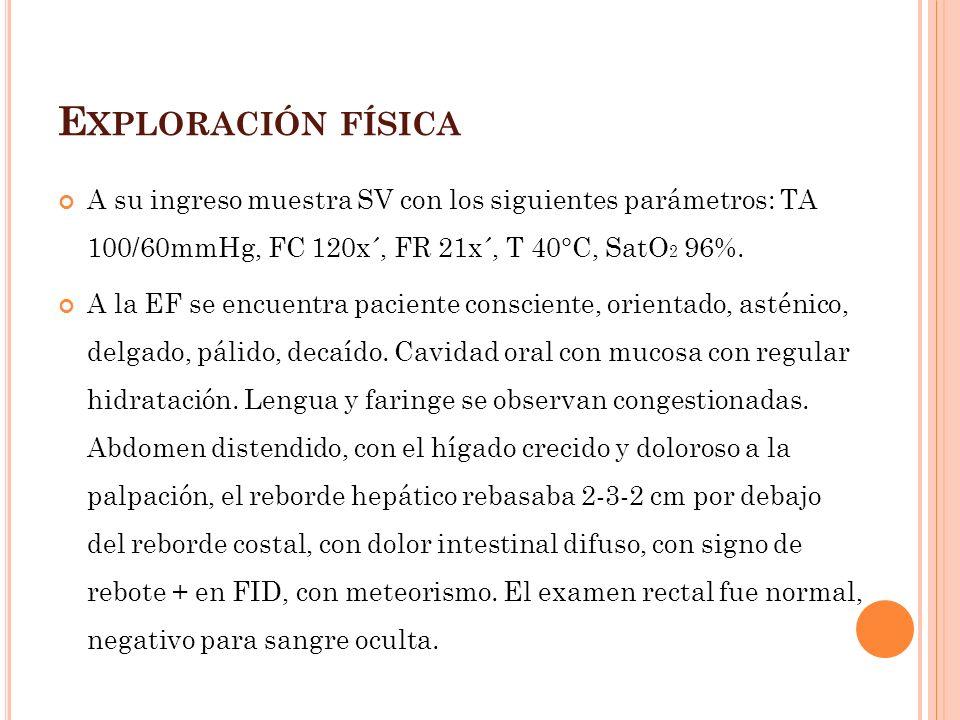 Exploración física A su ingreso muestra SV con los siguientes parámetros: TA 100/60mmHg, FC 120x´, FR 21x´, T 40°C, SatO2 96%.