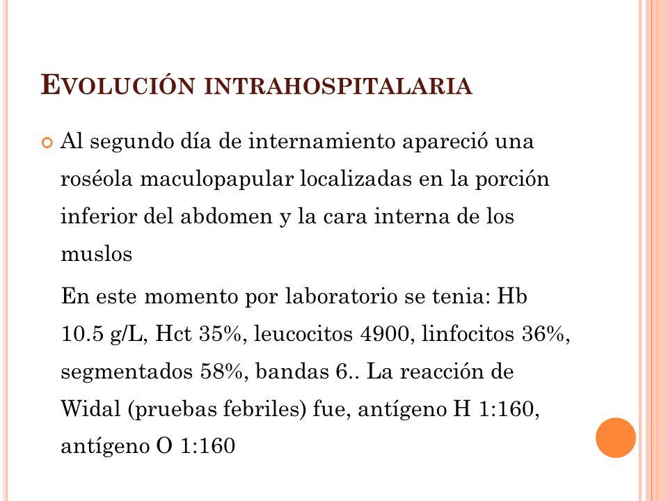 Evolución intrahospitalaria