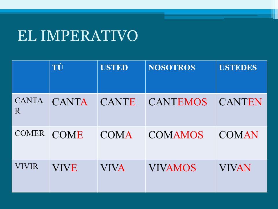 EL IMPERATIVO CANTA CANTE CANTEMOS CANTEN COME COMA COMAMOS COMAN VIVE