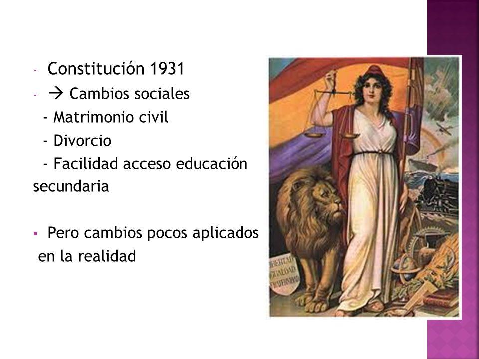 Constitución 1931  Cambios sociales - Matrimonio civil - Divorcio