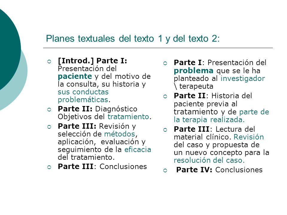 Planes textuales del texto 1 y del texto 2: