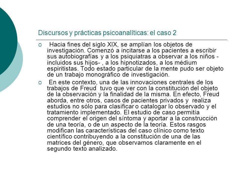 Discursos y prácticas psicoanalíticas: el caso 2