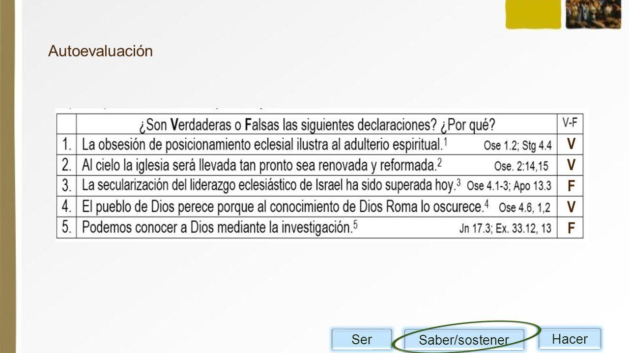 Autoevaluación VVFVF Ser Saber/sostener Hacer