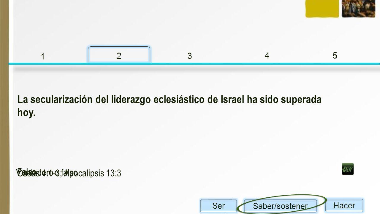 1 2. 3. 4. 5. La secularización del liderazgo eclesiástico de Israel ha sido superada hoy. Verdadero o falso.