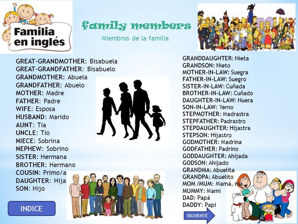 family members INDICE Miembros de la familia
