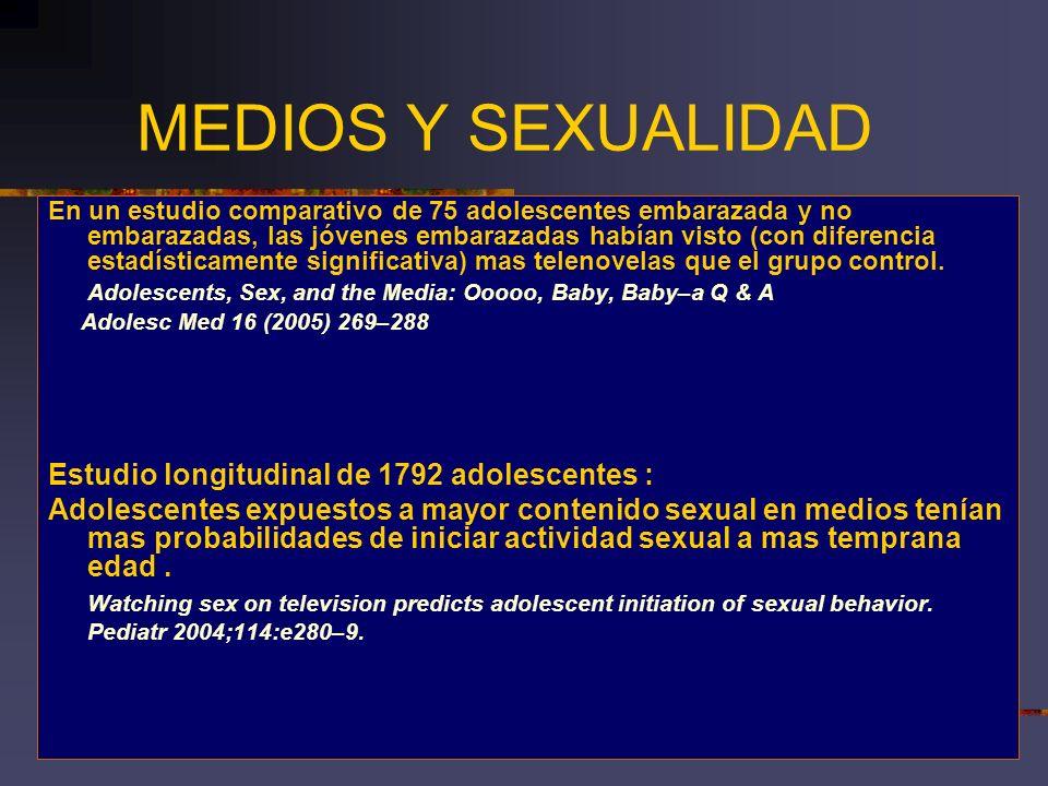MEDIOS Y SEXUALIDAD Estudio longitudinal de 1792 adolescentes :