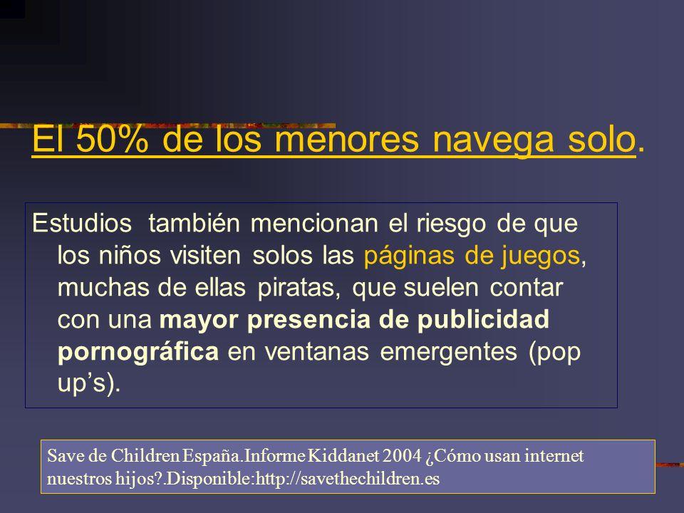 El 50% de los menores navega solo.