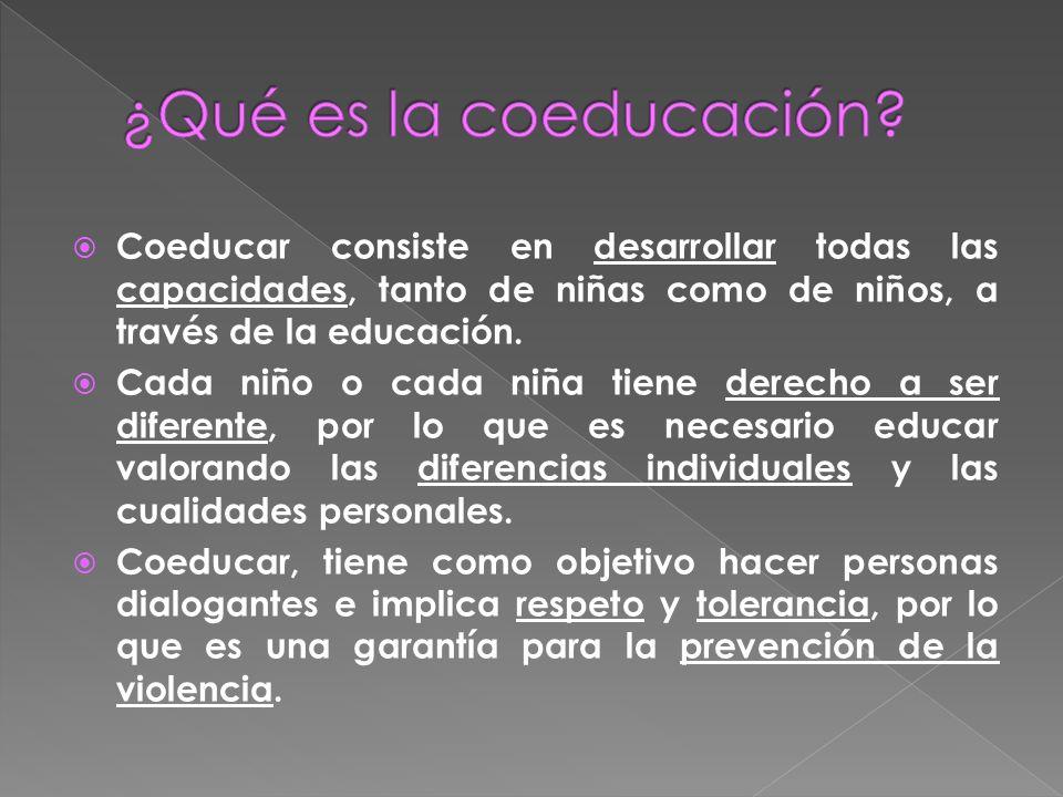 ¿Qué es la coeducación Coeducar consiste en desarrollar todas las capacidades, tanto de niñas como de niños, a través de la educación.