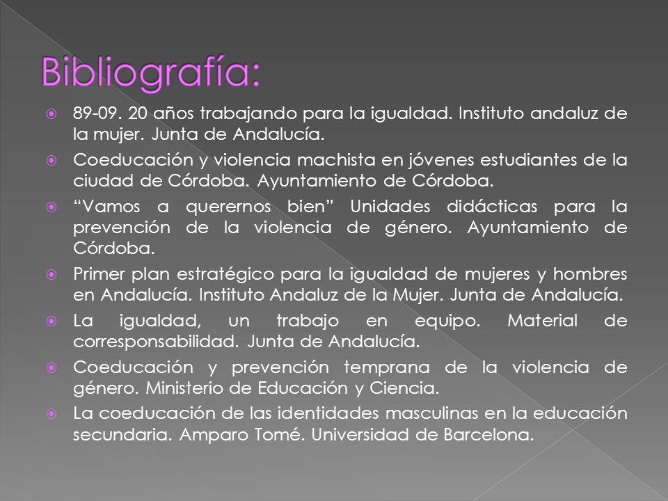 Bibliografía: 89-09. 20 años trabajando para la igualdad. Instituto andaluz de la mujer. Junta de Andalucía.