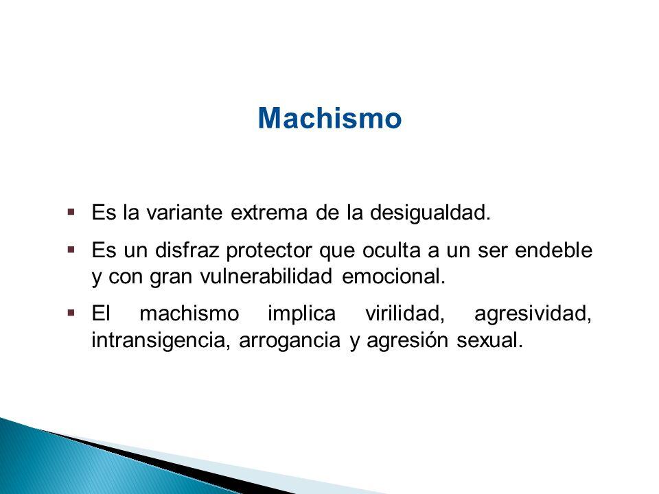 Machismo Es la variante extrema de la desigualdad.