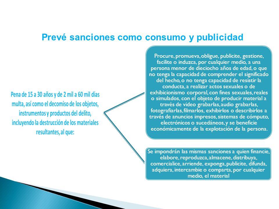 Prevé sanciones como consumo y publicidad