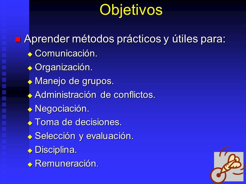 Objetivos Aprender métodos prácticos y útiles para: Comunicación.