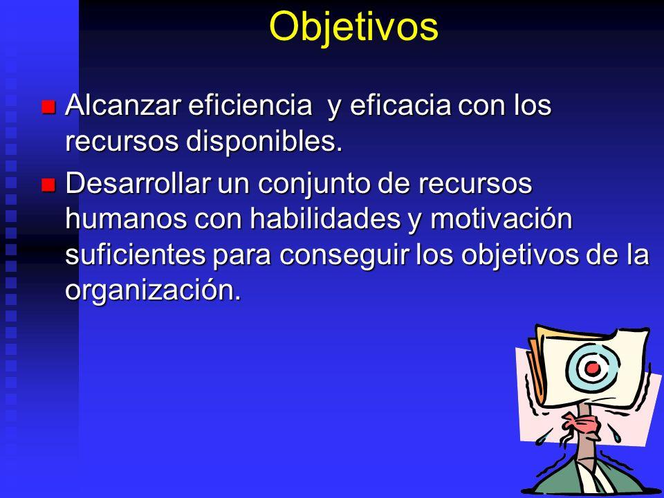 Objetivos Alcanzar eficiencia y eficacia con los recursos disponibles.